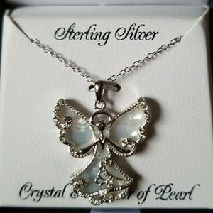 Jewelry - Sterling Silver Mother of Pearl Angel Necklace